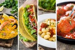Collage de diversas placas deliciosas de la comida imagenes de archivo