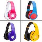 Collage de diversos colores de los auriculares Fotos de archivo libres de regalías