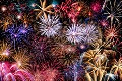 Collage de diversos fuegos artificiales Imagen de archivo libre de regalías