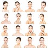 Collage de diversos retratos femeninos Balneario, elevación de cara, concepto de la cirugía plástica fotografía de archivo libre de regalías