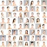 Collage de diversos retratos de mujeres jovenes en maquillaje fotografía de archivo libre de regalías