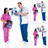 Collage de dos doctores con la radiografía fotografía de archivo libre de regalías