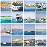 Collage de Egipto, viaje del barco turístico en el Mar Rojo, Sharm el Sheikh Imagen de archivo