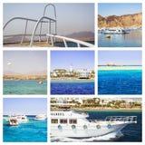 Collage de Egipto, viaje del barco turístico en el Mar Rojo, Sharm el Sheikh Foto de archivo libre de regalías