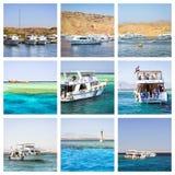 Collage de Egipto, viaje del barco turístico en el Mar Rojo, Sharm el Sheikh Fotografía de archivo