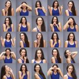 Collage de emociones - retrato de las pruebas modelo de una mujer morena hermosa joven en un fondo gris imagen de archivo