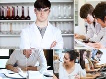 Collage de estudiantes durante sus conferencias fotografía de archivo
