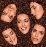 Collage de expresiones faciales femeninas imágenes de archivo libres de regalías