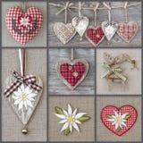 Collage de fotos con los corazones Fotografía de archivo
