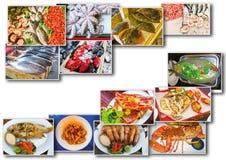Collage de fruits de mer avec des plats de poisson cru et de restaurant Photo libre de droits