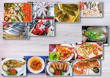 Collage de fruits de mer avec des plats de poisson cru et de restaurant Image libre de droits