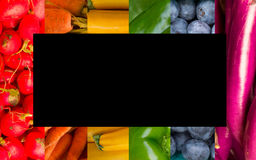 Collage de fruits et légumes d'arc-en-ciel Images stock