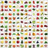 Collage de fruits et légumes sur le fond blanc Images libres de droits