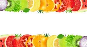 Collage de frutas y verduras mezcladas imagen de archivo
