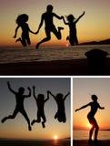 Collage de gens de coucher du soleil Images libres de droits