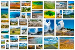 Collage de geysers de Yellowstone Photographie stock