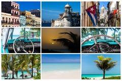 Collage de Havana Cuba con la playa de la arquitectura y los coches clásicos Imágenes de archivo libres de regalías