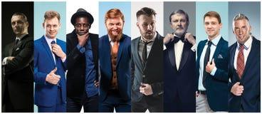Collage de hombres elegantes en trajes fotos de archivo libres de regalías