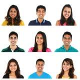 Collage de hombres jovenes y de retratos indios/asiáticos de las mujeres Fotos de archivo libres de regalías