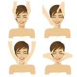 Collage de jeune femme dans le salon de station thermale obtenant le massage facial illustration stock