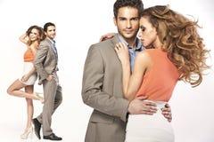 Collage de jeunes couples de sourire Images libres de droits
