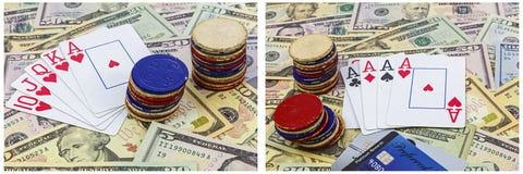 Collage de juego de las tarjetas de fichas de póker del dinero Imagenes de archivo