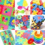 Collage de juguetes suaves Foto de archivo