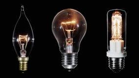 Collage de 3 lámparas de Edison que centellan sobre el vídeo negro, colocado metrajes