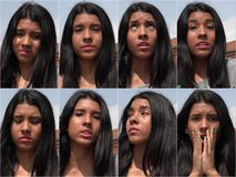 Collage de l'adolescence femelle déçu malheureux images stock