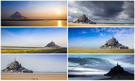 Collage de la abadía de Mont Saint Michel Foto de archivo libre de regalías