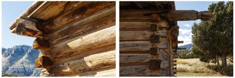 Collage de la arquitectura del primer de la cabaña de madera Fotografía de archivo