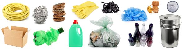 Collage de la basura reciclable en el fondo blanco imagen de archivo