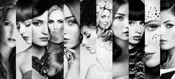 Collage de la belleza Caras de mujeres Fotografía de archivo