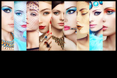 Collage de la belleza Caras de mujeres Imagen de archivo libre de regalías
