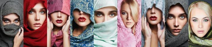 Collage de la belleza de mujeres hermosas imágenes de archivo libres de regalías