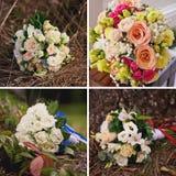 Collage de la boda con el cierre del ramo de la novia para arriba imagenes de archivo