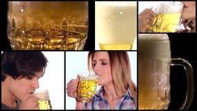 Collage de la cerveza almacen de metraje de vídeo