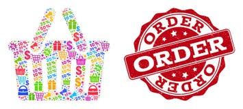 Collage de la cesta de compras del mosaico y sello texturizado para las ventas ilustración del vector