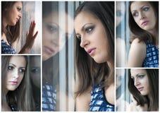 Collage de la chica joven que mira a través de la ventana imagen de archivo