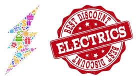 Collage de la chispa eléctrica del mosaico y sello del Grunge para las ventas stock de ilustración
