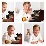 Collage de la colegiala de las imágenes que trabaja en el ordenador portátil Fotos de archivo