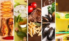 Collage de la comida imagenes de archivo