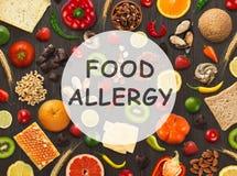 Collage de la comida alérgica, visión superior imagenes de archivo