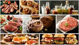 Collage de la comida con las carnes y los tapas asados a la parilla Foto de archivo libre de regalías