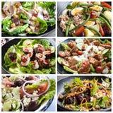 Collage de la comida de las ensaladas Foto de archivo