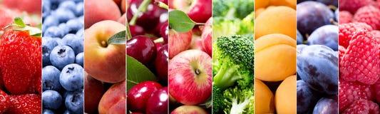 Collage de la comida de frutas y verduras foto de archivo libre de regalías