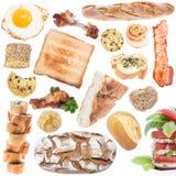 Collage de la comida (tamaño del icono) aislado en blanco Fotos de archivo