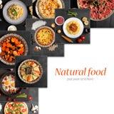 Collage de la comida (visión superior con el espacio de la copia) fotos de archivo