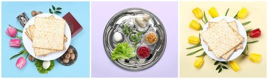 Collage de la comida y del dishware simbólicos de Pesach de la pascua judía en fondo del color imagen de archivo libre de regalías