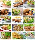 Collage de la composición de la ensalada Fotografía de archivo